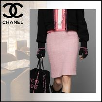 CHANEL Wool Plain Medium Elegant Style Midi Skirts