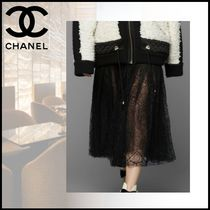 CHANEL Flared Skirts Long Lace Elegant Style Maxi Skirts