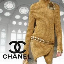 CHANEL Cashmere Rib Street Style Long Sleeves Plain Long
