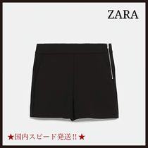 ZARA Short Plain Cotton Denim & Cotton Shorts