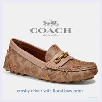 Coach CROSBY Flower Patterns Monogram Rubber Sole Casual Style Leather