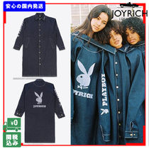 JOYRICH Unisex Denim Street Style Collaboration Plain Long
