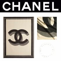 CHANEL ICON Stripes Blended Fabrics Street Style Handmade Throws