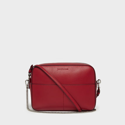 Casual Style Calfskin Plain Leather Crossbody Shoulder Bags