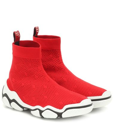 Round Toe Rubber Sole Casual Style Plain Sock Sneakers Logo