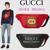 GUCCI Unisex Street Style Leather Hip Packs