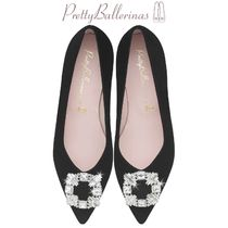 Pretty Ballerinas Suede With Jewels Pointed Toe Shoes