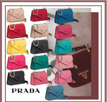 PRADA SAFFIANO LUX Blended Fabrics Leather Party Style Shoulder Bags