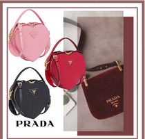 PRADA Blended Fabrics Leather Party Style Shoulder Bags