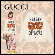 GUCCI U-Neck Long Sleeves Other Animal Patterns Cotton Oversized
