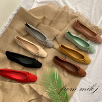 Square Toe Casual Style Suede Street Style Plain Flats