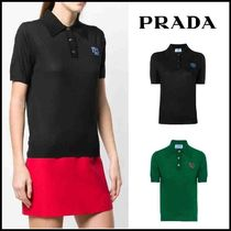 PRADA Wool Plain Short Sleeves Polo Shirts