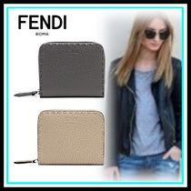 FENDI Blended Fabrics Leather Home Party Ideas Folding Wallets