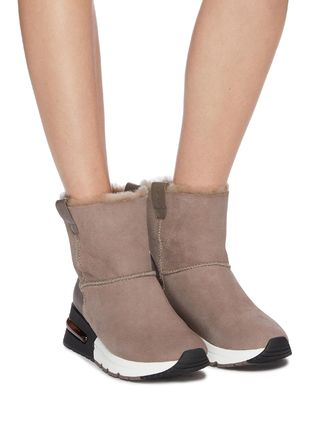 Rubber Sole Casual Style Suede Plain Mid Heel Boots