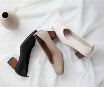Round Toe Faux Fur Plain Office Style Chunky Heels