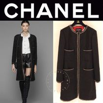 CHANEL ICON Wool Blended Fabrics Street Style Chain Plain Long