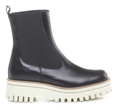 Platform Round Toe Casual Style Plain Leather Chelsea Boots