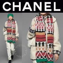 CHANEL ICON Casual Style Blended Fabrics Street Style Plain Leather