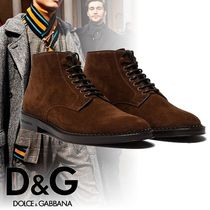 Dolce & Gabbana Plain Toe Plain Leather Chukkas Boots