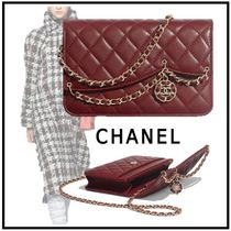 CHANEL MATELASSE 2019-20AW MATELLASE CHAIN WALLET burgundy wallets & cases