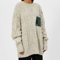 MM6 Maison Margiela Crew Neck Cable Knit Casual Style Wool Blended Fabrics