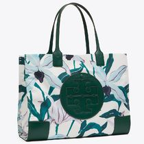 Tory Burch ELLA TOTE Flower Patterns Casual Style A4 Totes