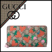 GUCCI Leather With Jewels Long Wallets