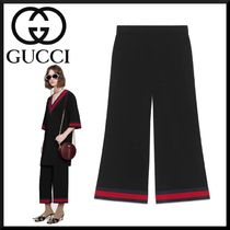GUCCI Stripes Blended Fabrics Plain Medium Elegant Style