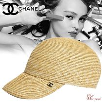 CHANEL Blended Fabrics Street Style Straw Hats
