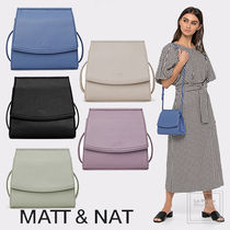MATT&NAT Casual Style Faux Fur Plain PVC Clothing Khaki Shoulder Bags