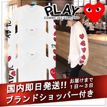 COMME des GARCONS Crew Neck Short Heart Street Style Long Sleeves Cotton