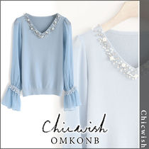 Chicwish V-Neck Long Sleeves Plain Medium With Jewels T-Shirts