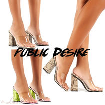 PUBLIC DESIRE Open Toe Faux Fur Other Animal Patterns Elegant Style