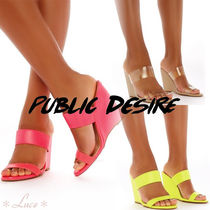 PUBLIC DESIRE Open Toe Faux Fur Elegant Style Platform & Wedge Sandals