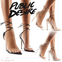 PUBLIC DESIRE Open Toe Faux Fur Pin Heels Elegant Style Heeled Sandals