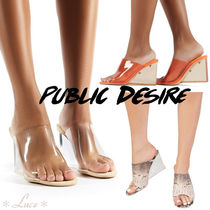 PUBLIC DESIRE Open Toe PVC Clothing Elegant Style Platform & Wedge Sandals
