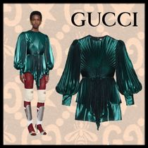 GUCCI Plain Party Style Puff Sleeves Tops