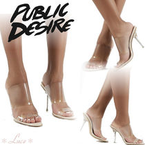 PUBLIC DESIRE Open Toe Pin Heels PVC Clothing Elegant Style Heeled Sandals