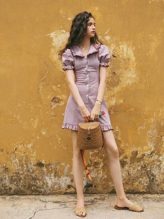 Short Casual Style Cotton Puff Sleeves Dresses
