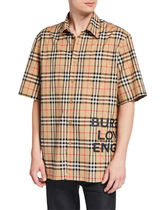 Burberry Button-down Tartan Other Plaid Patterns Unisex Street Style
