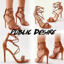PUBLIC DESIRE Open Toe Lace-up Faux Fur Pin Heels Elegant Style