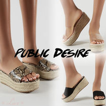 PUBLIC DESIRE Open Toe Casual Style PVC Clothing Platform & Wedge Sandals