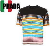 PRADA Stripes Street Style Cotton Short Sleeves Shirts