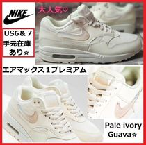 Nike AIR MAX 1 Round Toe Lace-up Casual Style Plain Leather Shoes