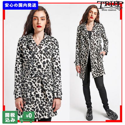 Leopard Patterns Casual Style Street Style Trench Coats