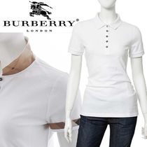 Burberry Tartan Casual Style Cotton Medium Short Sleeves Polo Shirts