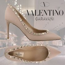 VALENTINO Studded Plain Leather Pin Heels Pointed Toe Pumps & Mules