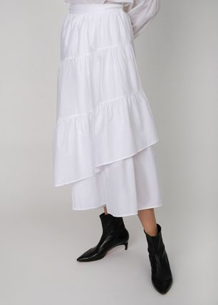 Flared Skirts Casual Style Plain Cotton Long Tired Asymmetry