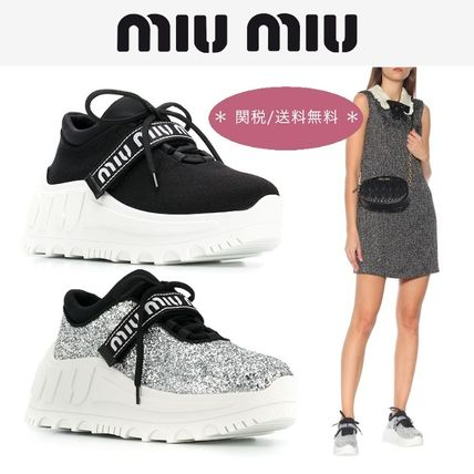 Casual Style Plain Leather Block Heels Low-Top Sneakers
