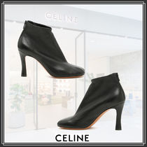 CELINE Square Toe Plain Leather Ankle & Booties Boots